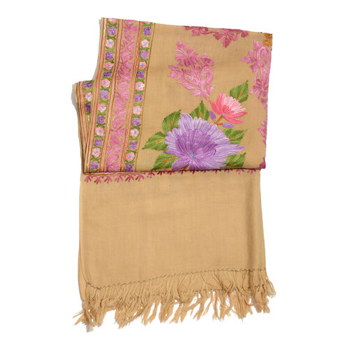 100% Merino Wool Multi Colour Flowers and Leaves Embroidered Peach Colour Scarf (Size 190x70 Cm)