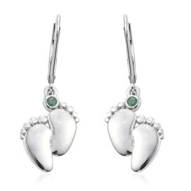 Kagem Zambian Emerald Baby Footprints Lever Back Earrings in Platinum Overlay Sterling Silver