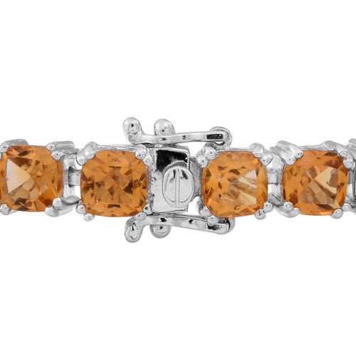 Uruguay  Citrine (Cush) Tennis Bracelet (Size 7.5) in Rhodium Plated Sterling Silver 25.000 Ct.
