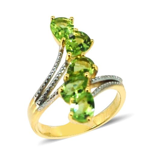 AA Hebei Peridot (Pear) 5 Stone Crossover Ring in 14K Gold Overlay Sterling Silver 3.750 Ct.