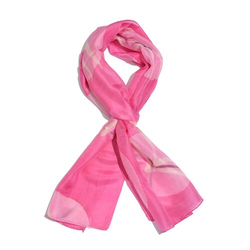 100% Mulberry Silk Pink and Multi Colour Abstract Pattern Scarf (Size 180x50 Cm)
