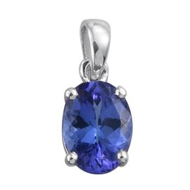 14K White Gold 1 Carat Tanzanite Oval Solitaire Pendant.
