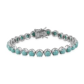 Sonoran Turquoise (Rnd) Bracelet (Size 7.5) in Platinum Overlay Sterling Silver 13.500 Ct.