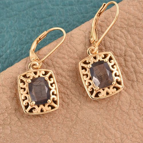 Natural Zawadi Golden Sheen Sapphire (Cush) Lever Back Earrings in 14K Gold Overlay Sterling Silver 3.750 Ct.