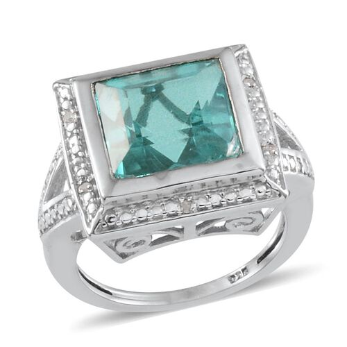 Paraiba Tourmaline Colour Quartz (Sqr 7.50 Ct), Diamond Ring in Platinum Overlay Sterling Silver 7.530 Ct.