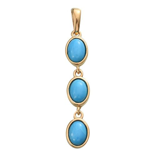 Arizona Kingman Turquoise (Ovl) Trilogy Pendant in 14K Gold Overlay Sterling Silver 3.000 Ct.