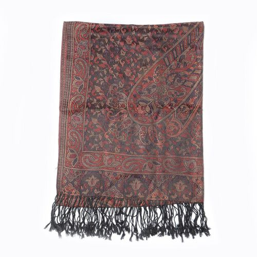 100% Superfine Silk Paisley Pattern Black and Multi Colour Jacquard Jamawar Scarf with Fringes (Size 180x70 Cm) (Weight 125 - 140 Grams)
