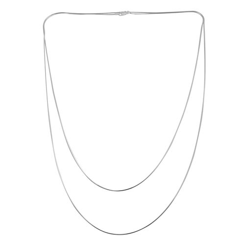JCK Vegas Collection Sterling Silver 2 Strand Snake Necklace (Size 60), Silver wt 8.50 Gms.