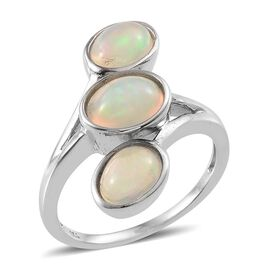 Ethiopian Welo Opal (Ovl 0.85 Ct) 3 Stone Ring in Platinum Overlay Sterling Silver 2.250 Ct.