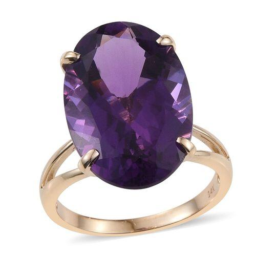 14K Y Gold AAA Zambian Amethyst (Ovl) Ring 18.000 Ct.