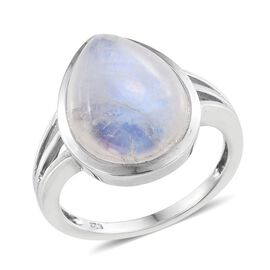 Natural Rainbow Moonstone (Pear) Solitaire Ring in Platinum Overlay Sterling Silver 9.250 Ct.