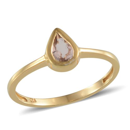 Marropino Morganite (Pear) Solitaire Ring in 14K Gold Overlay Sterling Silver 0.500 Ct.