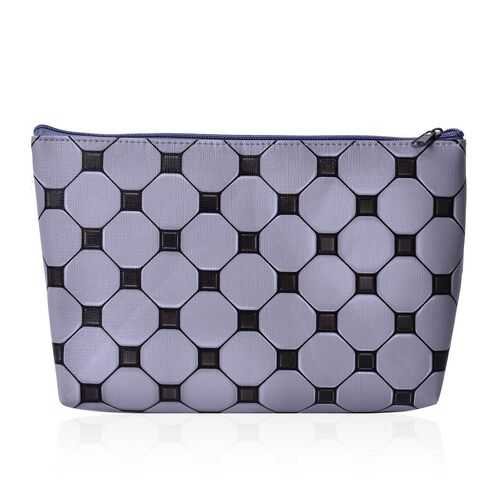 Set of 3 - Grey and Black Colour Large (Size 24x18x4 Cm), Middle (Size 22x16x4 Cm) and Small (Size 19x13x3 Cm) Cosmetic Bag