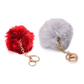 Set of 2 -  Faux Fur Burgundy and Grey Colour Fluffy Pom Pom Key Chain in Gold Tone (Size 10 Cm)