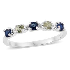 Green Sapphire and Blue Sapphire (Rnd) 5 Stone Ring in Sterling Silver 0.750 Ct.