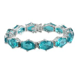 Capri Blue Quartz Bracelet in Platinum Overlay Sterling Silver (Size 7.5) 84.250 Ct.