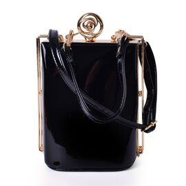 Black Colour Clutch Bag with Adjustable and Removable Shoulder Strap (Size 17x13x10 Cm)