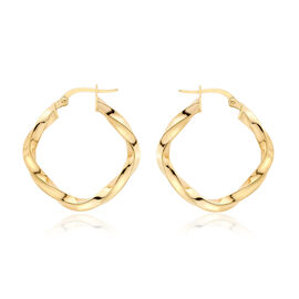Italian Designer Inspired 9K Y Gold Square Twist Hoop Earrings (with Clasp), 1.51gms Gold Wt.