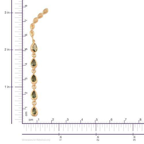 Bohemian Moldavite (Pear) Climber Earrings in 14K Gold Overlay Sterling Silver 1.500 Ct.
