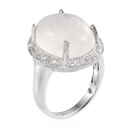 Natural Rainbow Moonstone (Ovl 9.74 Ct), Natural Cambodian Zircon Ring in Platinum Overlay Sterling Silver 9.990 Ct.