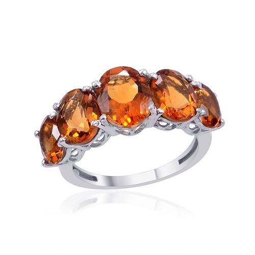 Madeira Citrine (Ovl 1.50 Ct) 5 Stone Ring in Platinum Overlay Sterling Silver 5.000 Ct.