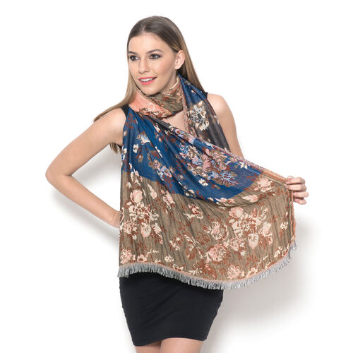 Peach, Blue and Multi Colour Flower Pattern Scarf (Size 170x70 Cm)