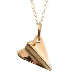 14K Gold Overlay Sterling Silver Origami Airplane Pendant With Chain, Silver wt 4.05 Gms.
