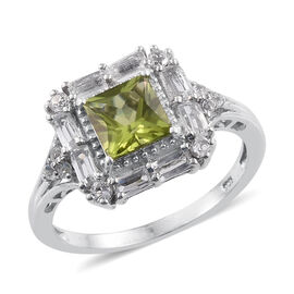 AA Hebei Peridot (Sqr 1.75 Ct), White Topaz Ring in Platinum Overlay Sterling Silver 2.750 Ct.