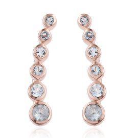 Espirito Santo Aquamarine 0.85 Ct Silver Climber Earrings in Rose Gold Overlay