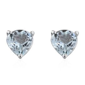 Espirito Santo Aquamarine 1.25 ct. Heart Silver Stud Earrings with Push Back in Platinum Overlay