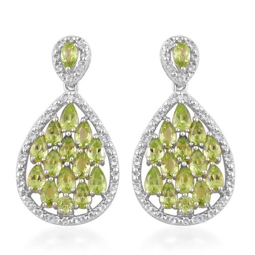 AA Hebei Peridot (Pear), White Topaz Earrings (with Push Back) in Platinum Overlay Sterling Silver 6.500 Ct.