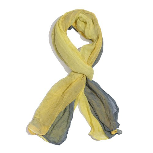 100% Modal Yellow, Grey and Multi Colour Ombre Scarf (Size 170x100 Cm)