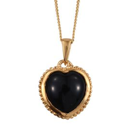 Black Onyx (Hrt) Solitaire Pendant With Chain in 14K Gold Overlay Sterling Silver 2.750 Ct.