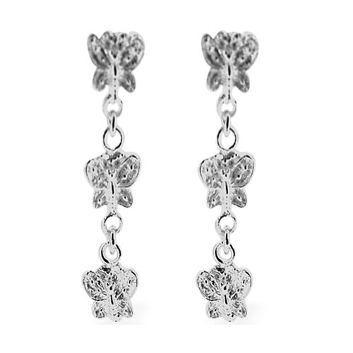 Thai Sterling Silver Butterfly Earrings (with Push Back), Silver wt 3.35 Gms.