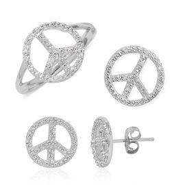 Diamond (Rnd) Peace Ring, Pendant and Stud Earrings (With Push Back) in Sterling Silver