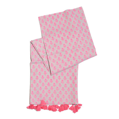 100% Cotton Hand Block Pink Colour Printed Grey Colour Pareo with Tassels (Size 180x100 Cm)