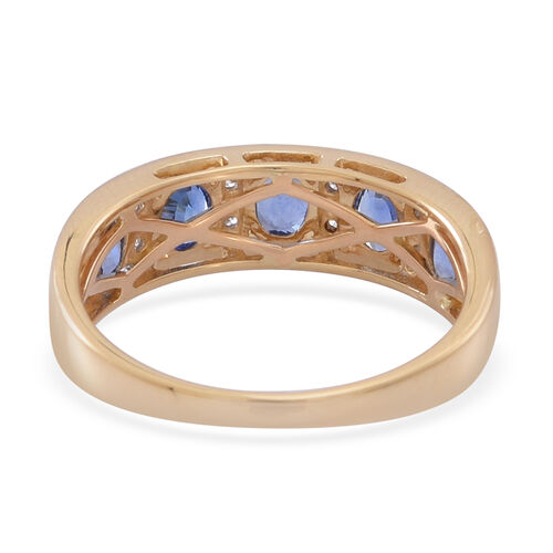 ILIANA 18K Y Gold AAA Ceylon Blue Sapphire (Ovl), Diamond Ring 1.750 Ct.