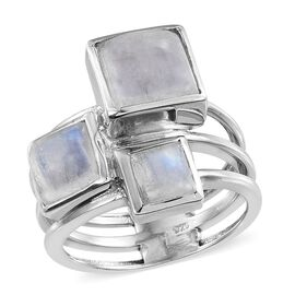 Natural Rainbow Moonstone (Sqr 4.50 Ct) 3 Stone Ring in Platinum Overlay Sterling Silver 7.750 Ct.