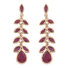 African Ruby (Pear) Earrings in Yellow Gold Overlay Sterling Silver 9.500 Ct.