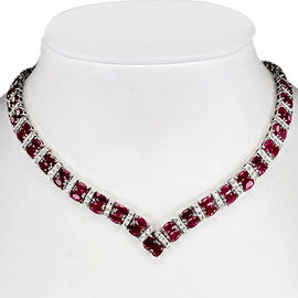 African Ruby (Ovl), Diamond Necklace (Size 18) in Rhodium Plated Sterling Silver 21.040 Ct.