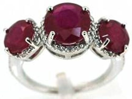 African Ruby (Rnd 3.75 Ct), White Sapphire Ring in Rhodium Plated Sterling Silver 7.750 Ct.