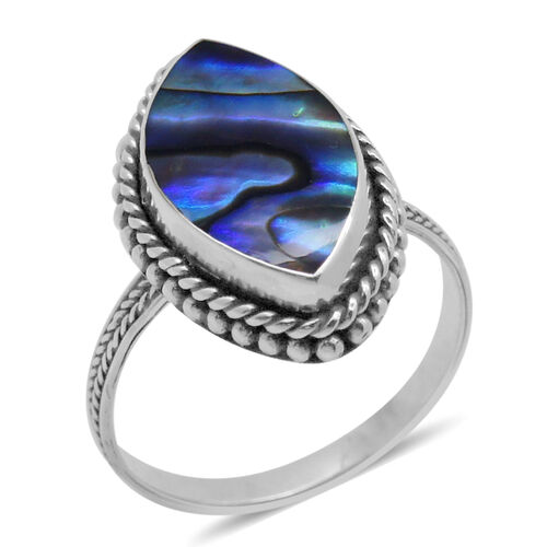 Royal Bali Collection Abalone Shell (Mrq) Ring in Sterling Silver 15.800 Ct.