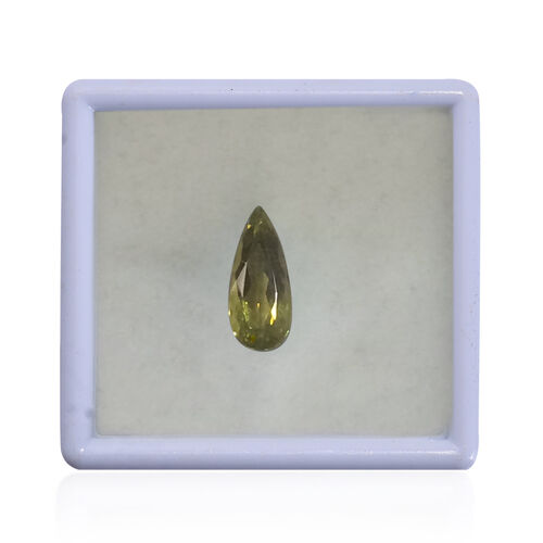 IGI Certified Natural Canary Tourmaline Faceted (Pear 15.72x6.8 4A) 3.460 Cts (GT12833505)