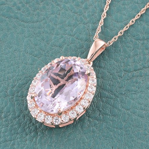 Rose De France Amethyst (Ovl 11.75 Ct), Natural Cambodian Zircon Pendant With Chain in Rose Gold Overlay Sterling Silver 13.500 Ct.