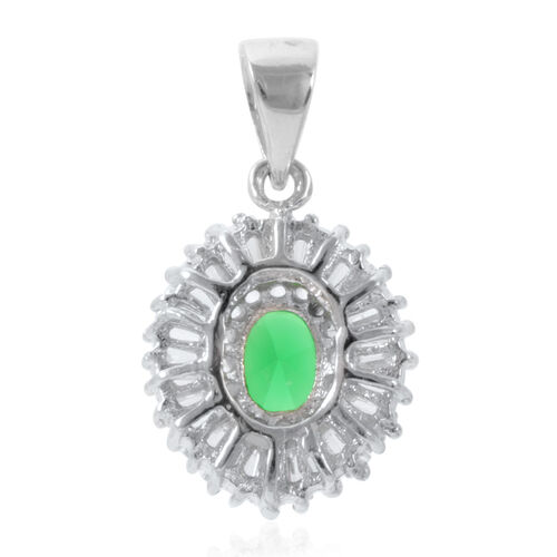 ELANZA AAA Simulated Diamond (Bgt) Pendant in Rhodium Plated Sterling Silver