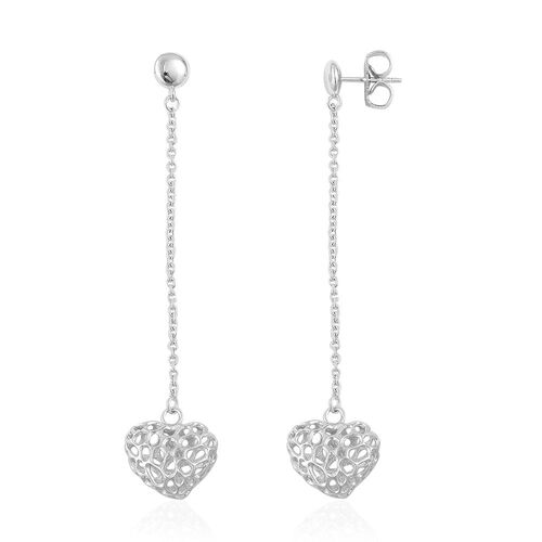 RACHEL GALLEY Rhodium Plated Sterling Silver Amore Heart Lattice Earrings (with Push Back), Silver wt 5.68 Gms.