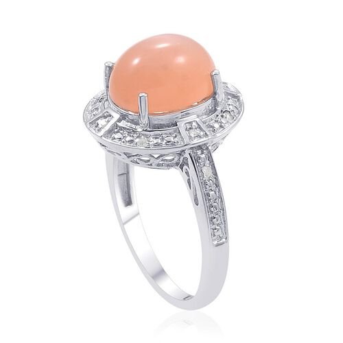 Mitiyagoda Peach Moonstone (Ovl 3.25 Ct), Diamond Ring in Platinum Overlay Sterling Silver 3.300 Ct.
