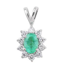 ILIANA 18K W Gold Boyaca Colombian Emerald (Ovl 0.75 Ct), Diamond (SI/G-H) Pendant 1.000 Ct.