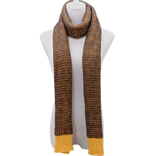 Mustard and Brown Colour Winter Knitted Scarf (Size 240x40 Cm)