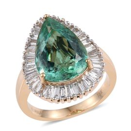 ILIANA 18K Y Gold Boyaca Colombian Emerald (Pear 4.75 Ct), Diamond Ring 6.000 Ct.